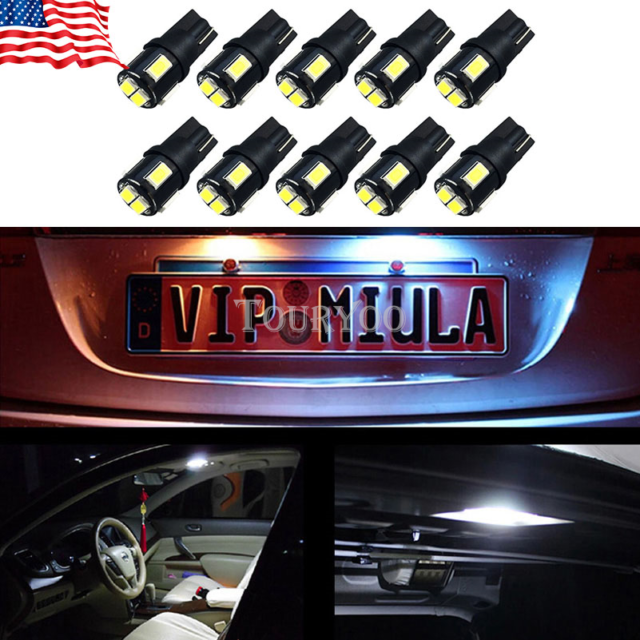 2x White T10 5630 6SMD High Power Car Wedge License Plate LED Light Bulbs 6000K~