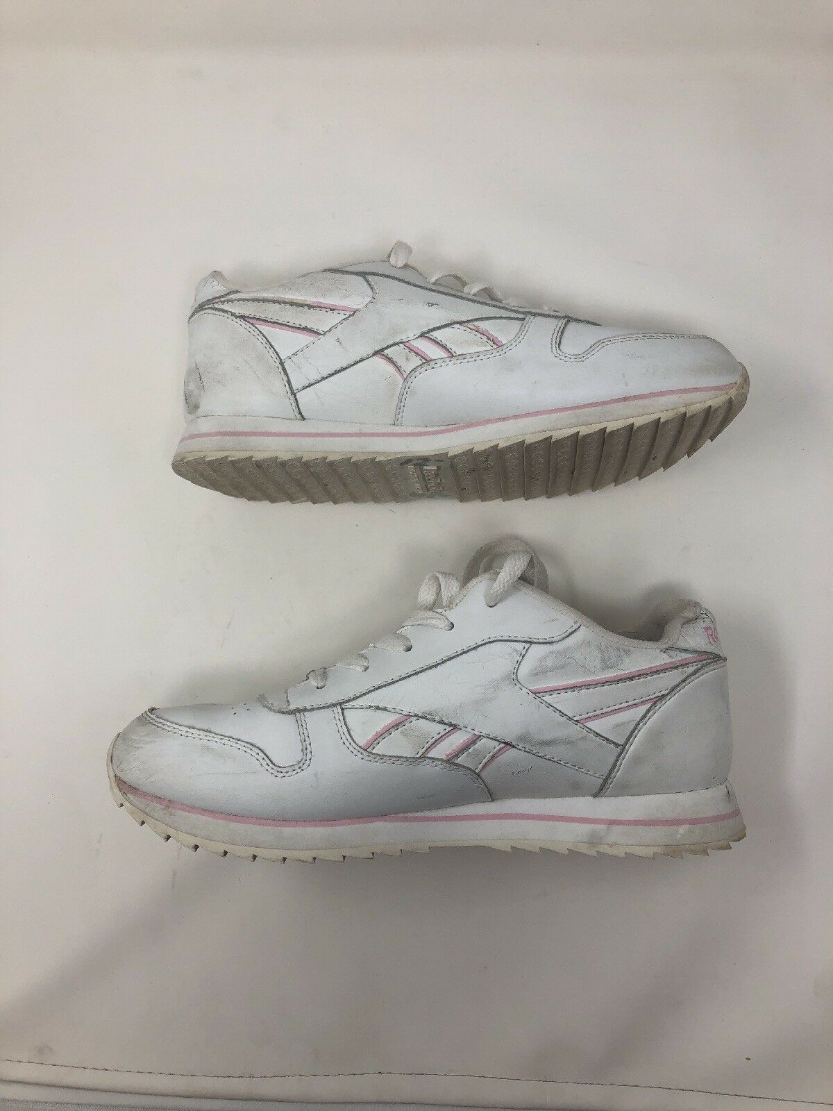 Vintage 80s Reebok White Pink Mens Mens Mens 5.5 Women's 7 Light Up Sneakers Classic RARE 7be824