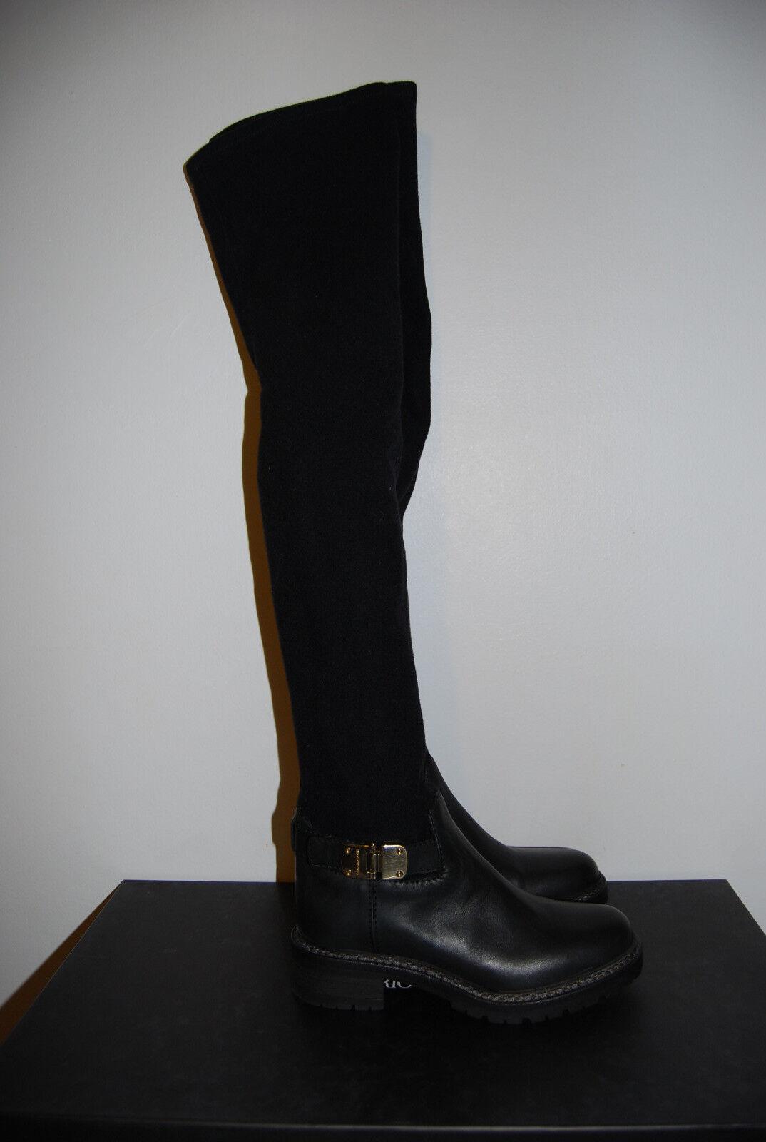NIB Emporio Armani Black Over the Knee Buckle Boots 35  995