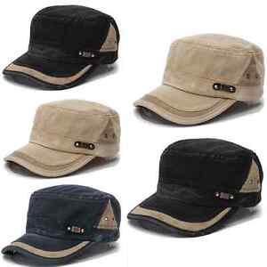 Men-Women-Classic-Army-Plain-Vintage-Hat-Cadet-Military-Baseball-Cap-Adjustable