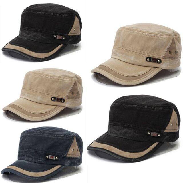 Vintage Men Women Classic Army Plain Hat Adjustable Cadet Military Baseball Cap