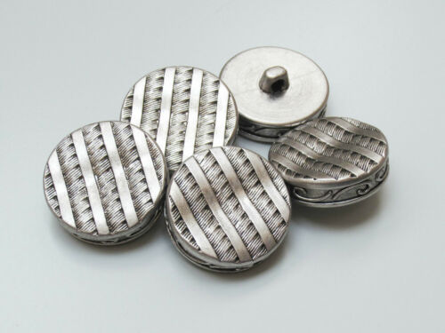 8 altsilberfarbene Kunststoff Knöpfe in edler geflochtener Metall Optik z057as