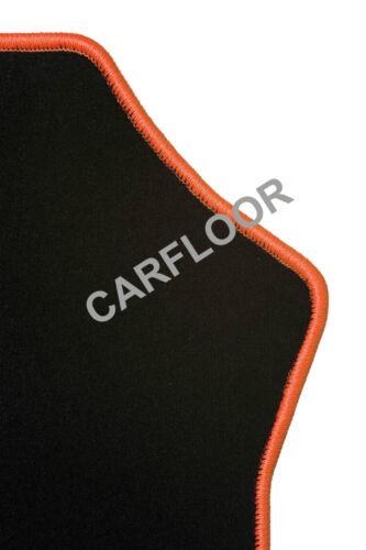 Citroen Pluriel Fußmatten Velours  schwarz mit Rand orange und Halter