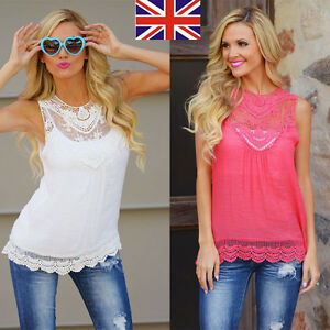 Summer-Womens-Loose-Casual-Chiffon-Sleeveless-Lace-Shirt-Tops-Blouse-Ladies-Tops