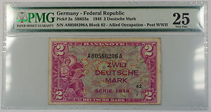 1948-Germany-Federal-Republic-2-Deutsche-Mark-Note-Pick-3a-PMG-25-Very-Fine