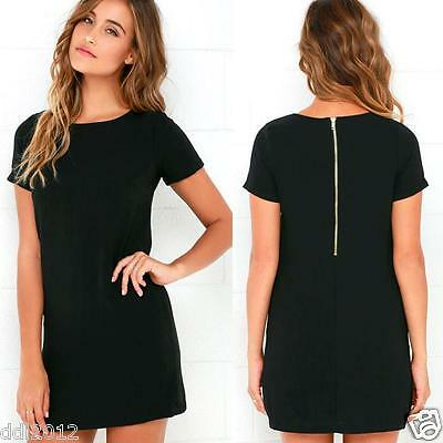 New Summer Womens Mini Dress Casual Loose Short Sleeve Long T Shirt Tee Top