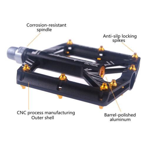 "MTB Road Bike Pedals Ultra-light 9//16/"" 4 Bearing Cycling Aluminum Platform//Flat"