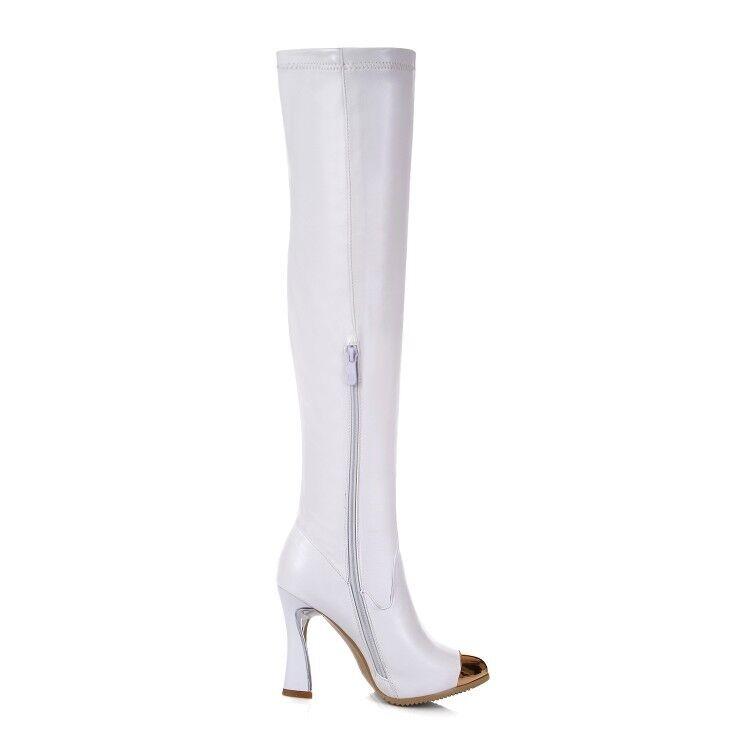 Sexy Mujeres Puntiaguda Puntera Puntiaguda Mujeres tirar encima de la rodilla botas Zapatos De Tacones Altos muslo knght bdc2ed