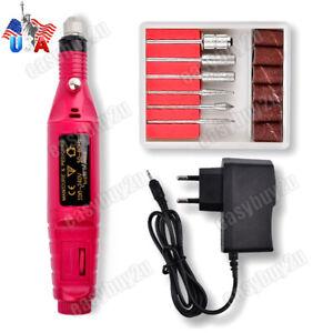 Nail-File-Drill-Kit-Electric-Manicure-Pedicure-Acrylic-Portable-Salon-Machine-US