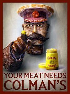 Charmant Colman's Mustard, Rétro Métal Signe/plaque Murale Vintage Cuisine/cadeau-afficher Le Titre D'origine Pour Effacer L'Ennui Et éTancher La Soif