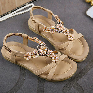 773330efe Summer Women s Braided Strap Bohemia Beaded Flat Sandals shoes 2018 ...
