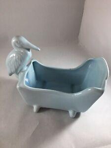 Vintage Blue Ceramic Planter Boy Baby Cradle and Stork
