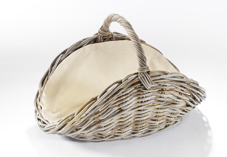 Holzkorb oval Kubu grau Rattan mit Henkel und Leinen ausgeschlagen