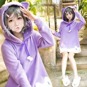 Japan-Anime-Hentai-Ouji-To-Warawanai-Neko-Girls-Purple-Cat-Ear-Cosplay-Hoodie