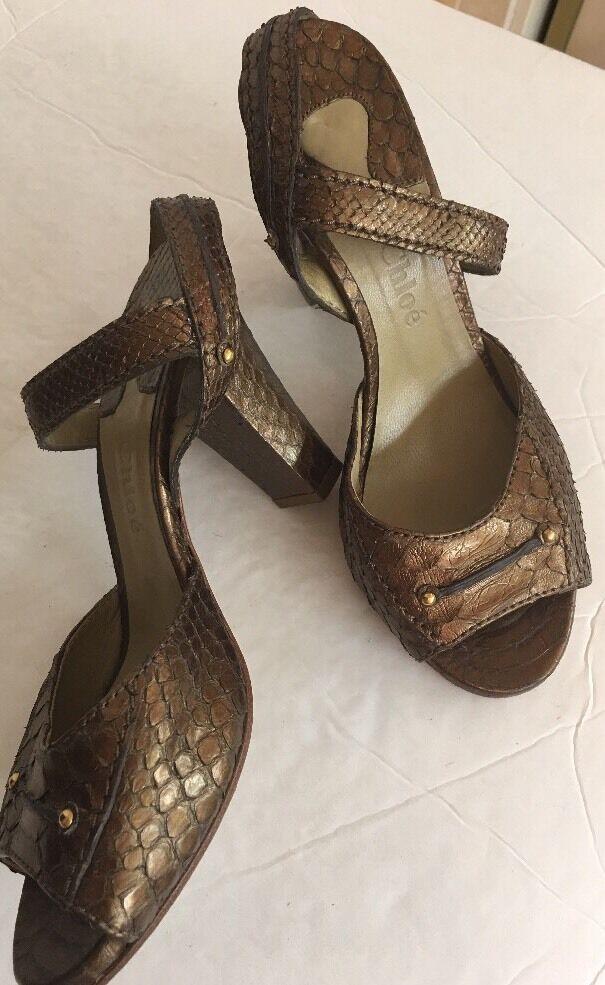 Chlóe Shoe Dark Gold Metallic Python Size 37 1/2 Fits Like A Size 7