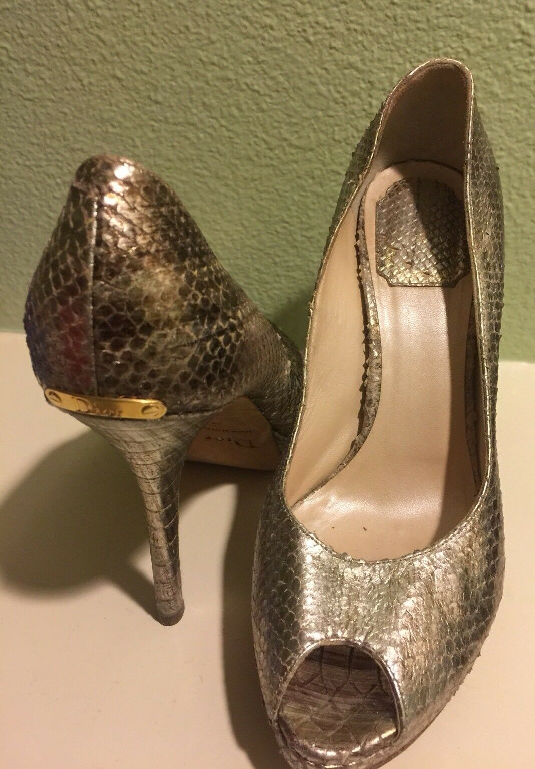 CHRISTIAN DIOR GOLDEN SIZE SIZE GOLDEN 38 SNAKE PLATFORM SHOES 91d0e1