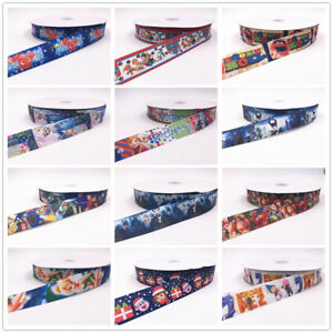 5-Yard-1-039-039-25MM-Animation-fish-series-Printed-Grosgrain-Ribbon-Hair-Bow-Sewing