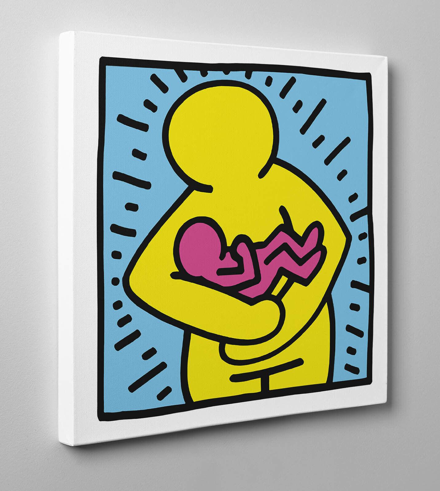 ️ Quadro HARING Baby Maternità 2 Poster Stampa su Tela Vernice Pennellate