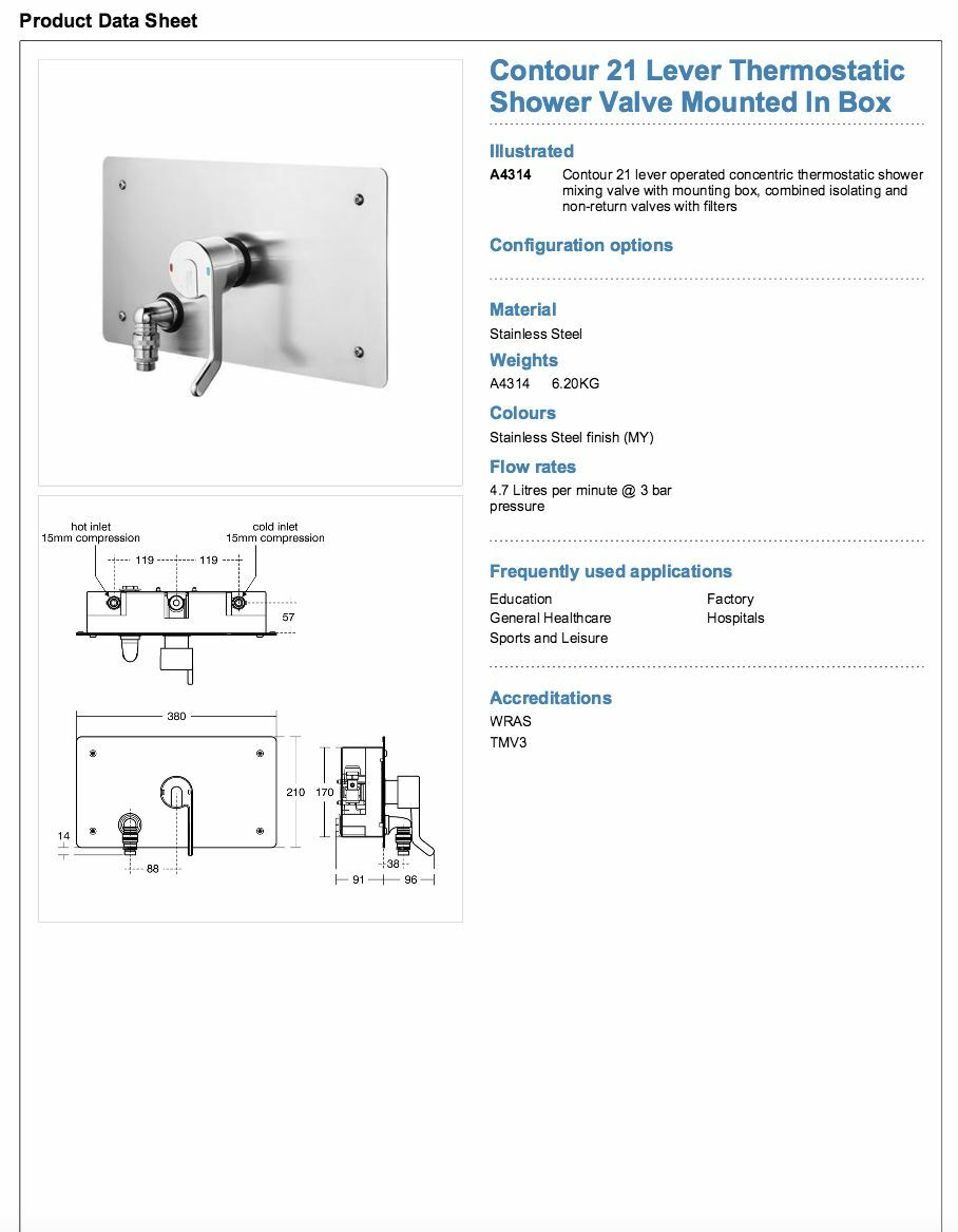 Armitage Shanks Contour 21 Douche Thermostatique Valve. A4314MY. Doc Doc Doc M/TMV3 76d930