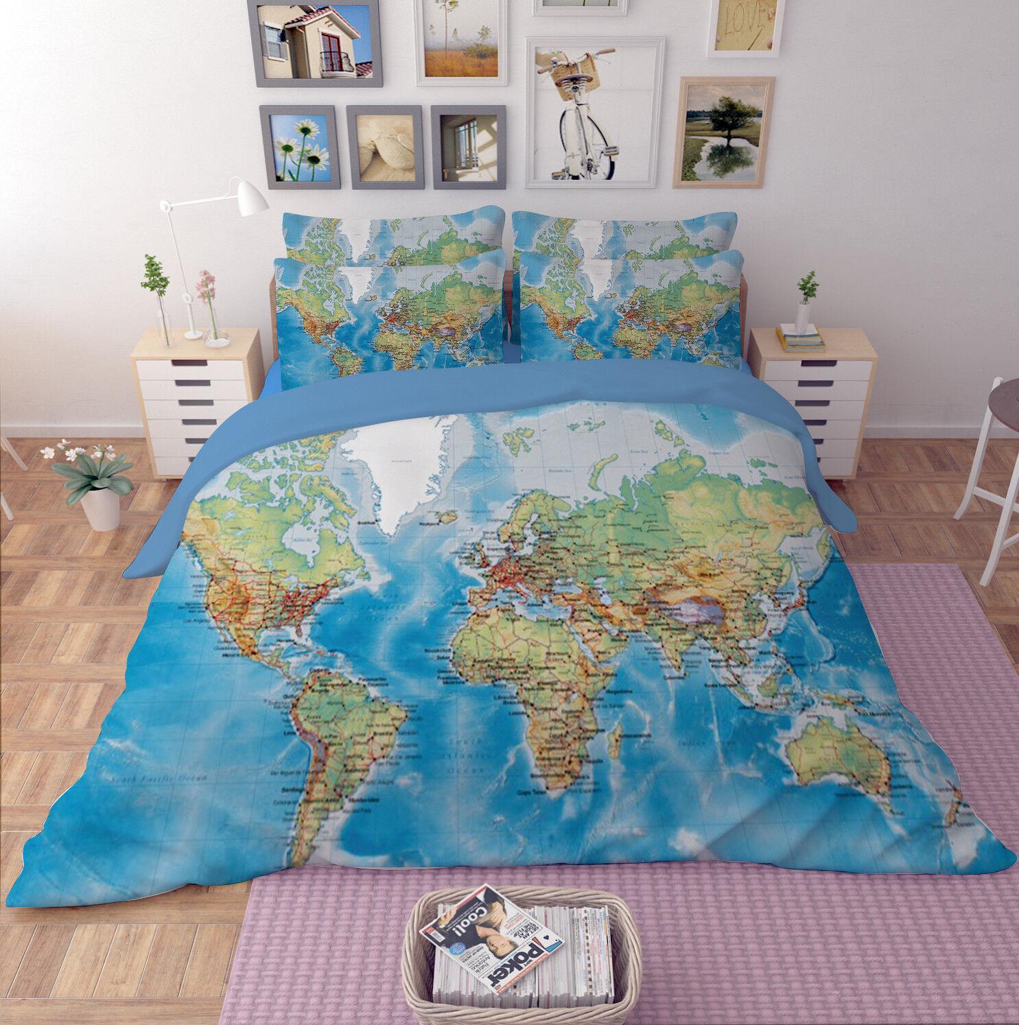 3D Map Home 26 Bed Pillowcases Quilt Duvet Cover Set Single Queen King AU