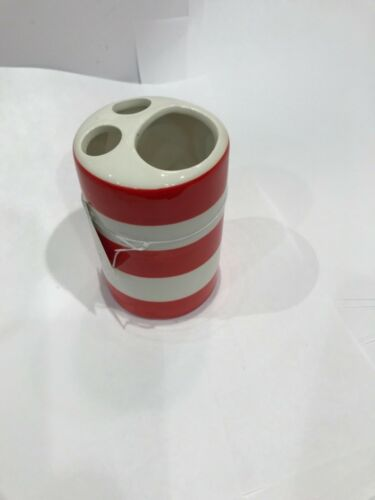 Brush Holder and Soap Holder Set Red White and Blue Bathroom Soap Dispenser