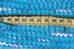 56pcs-Bell-Flower-Trans-Aqua-Pressed-Glass-Beads-9-x-6mm-56pcs