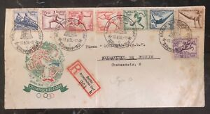 1936 Berlin Germany Olympic Cover Domestic Used Complete Stamp Set
