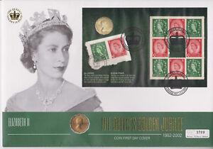 GB QEII PNC moneda Cubierta 2002 Golden Jubilee tres peniques thrupence (GJ3)