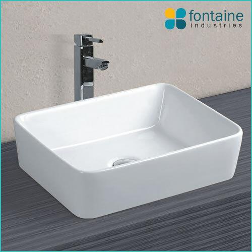 Beckham White Ceramic Rectangle Square Above Counter Modern Basin Bowl Sink