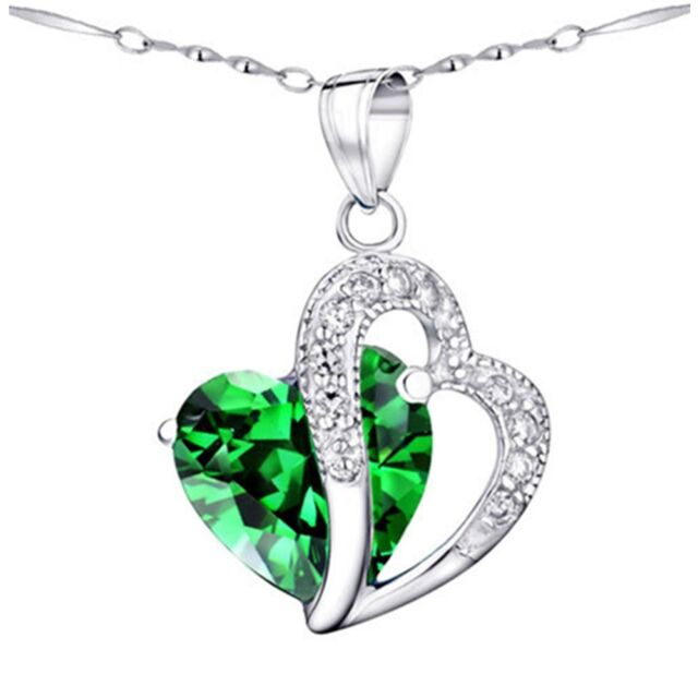 Created Emerald Gemstone 925 Sterling Silver Pendant Necklace Gifts for Women