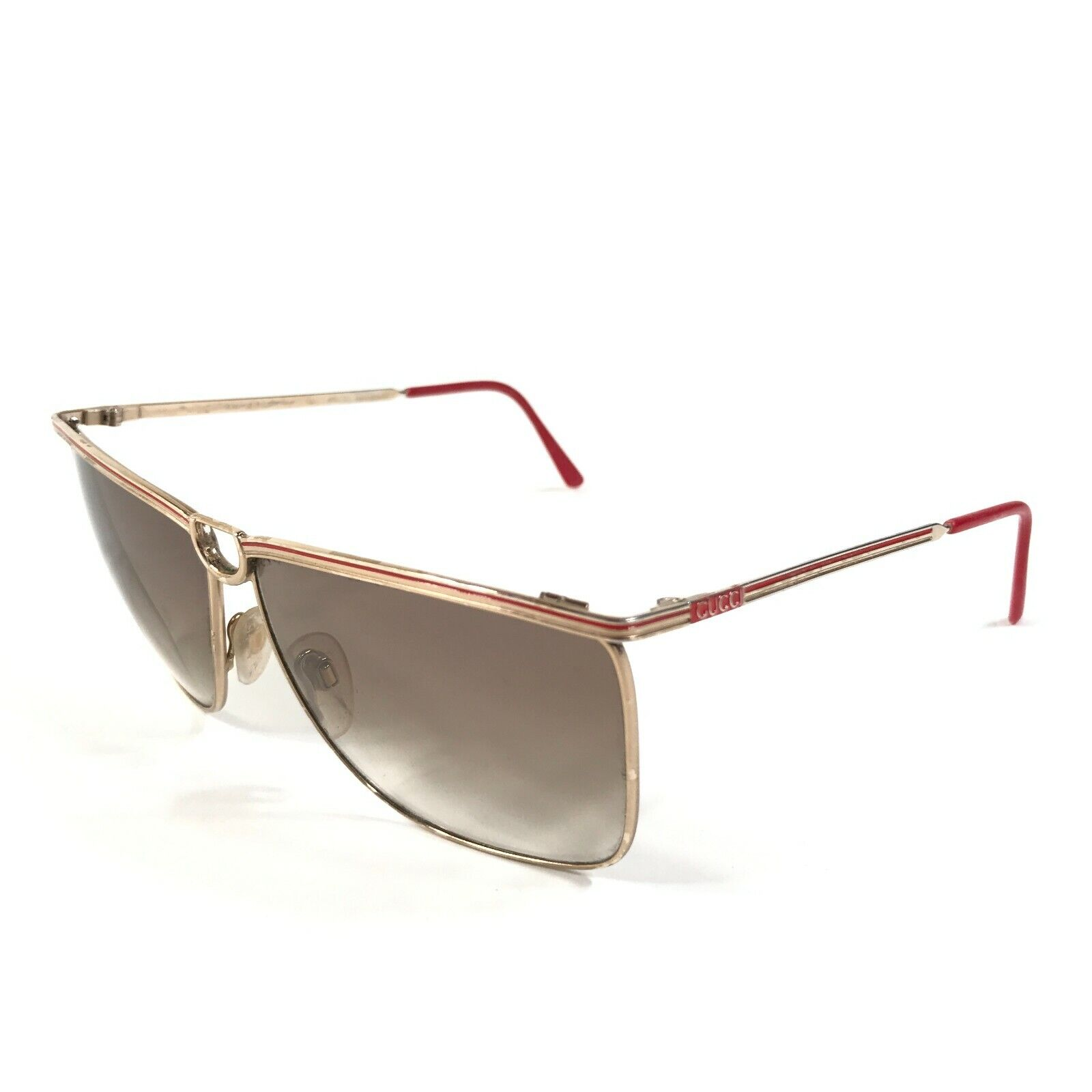 Vintage Gucci Sunglasses 70s 80s Gold Red Logos B… - image 5