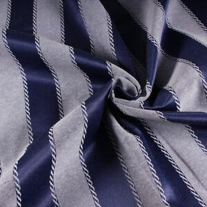 Tessuto al metro per arredamento e tendaggi h.280 Raso Blu Jacquard a Righe