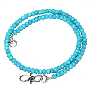 Sky-Blue-Turquoise-12-40-034-Strand-Necklace-925-Sterling-Silver-Round-4mm-Beads-L5