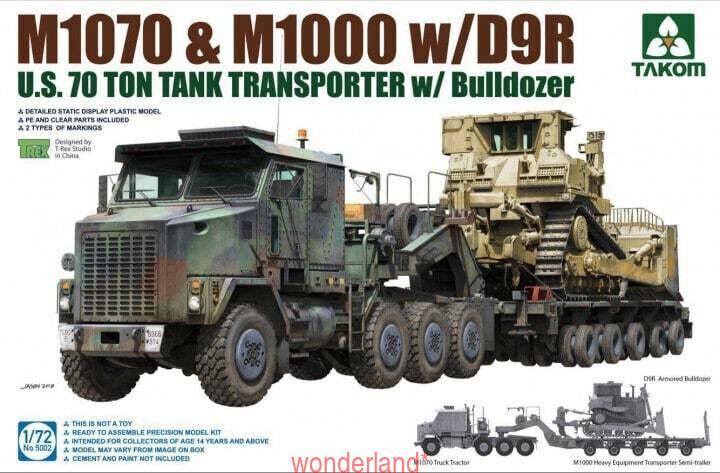 Takom 5002 1 72 US M1070 & M1000 w D9R U.S.70 Ton Tank Transporter w Bulldozer