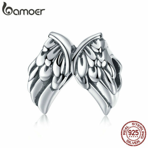 BAMOER Authentic S925 Sterling silver Charm Bead Guardian Wings For Bracelet