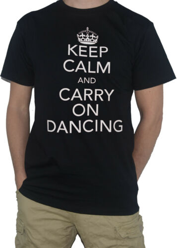 NEW Dancing T-Shirt Keep Calm and Carry on Funny Disco Dance Party Club Top