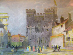 Engraving-NEWCASTLE-CASTLE-FROM-COUNTY-COURT-Antique-19C-T-Allom-Veduta-Colour