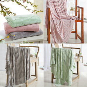 Details About Bamboo Fiber Knitted Blanket Soft Sofa Couch Cover Bedroom Bed Woven Throw Rug