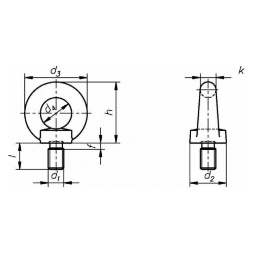 A2 blank 10x DIN 580 Ringschrauben M 6