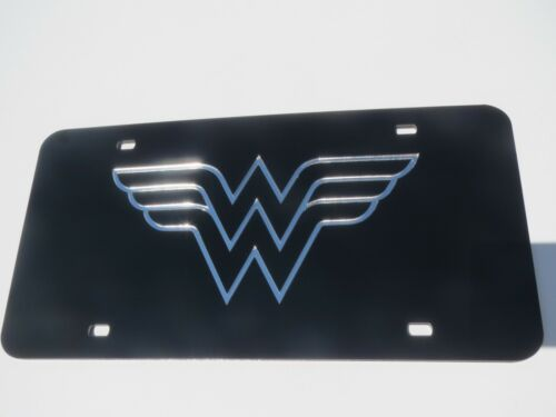 Wonder Woman Acrylic Mirror License Plate Auto Car Vanity Tag Justice League