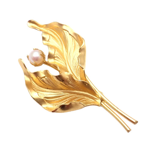 Vintage DIXELLE Sterling Silver Pearl Brooch  Pin