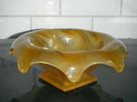 "Bagley Art Deco "" Equinox"" orange frosted glass posy bowl"