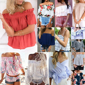 34db236af24f45 Lot Women Off Shoulder Chiffon Strapless T-Shirt Summer Casual Loose ...