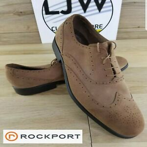 Rockport-Mens-Tan-Leather-Oxford-Wingtips-Dress-Shoes-K51662-Size-16-M