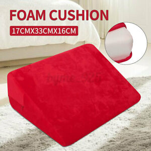 Bedding-Wedge-Pillow-Foam-Cushion-Neck-Back-Support-Home-Washable-Red