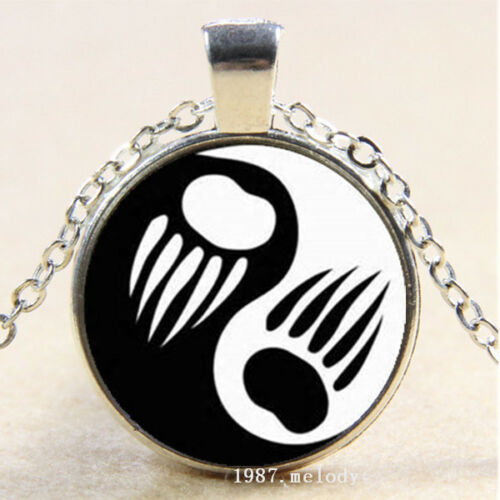 Photo cabochon verre argent Populaire Pendentifs Collier ( Bear Paw Ying Yang )