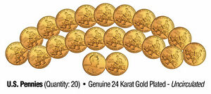 Lot-of-20-LINCOLN-BICENTENNIAL-2009-Pennies-UNC-Coins-24K-Gold-Plated-FORMATIVE