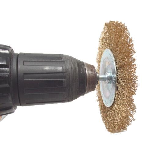 """Brosse métallique en laiton Perceuse Roue Set 1//4/"""" 6 mm métal ROUILLE Removal Kit de nettoyage"""