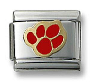 Authentic-18k-Gold-Italian-Charm-Enamel-Red-Paw-Print-9mm-Modular-Link-Bracelet