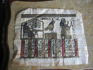 Vintage-Egyptian-Papyrus-Painting-on-Paper-Signed